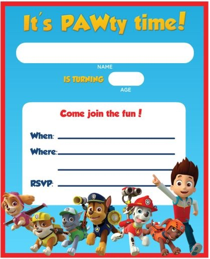Chic Paw Patrol Party Invites Ideal Paw Patrol Birthday Party