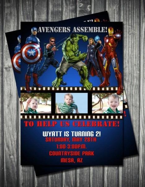Perfect Avengers Themed Birthday Invitation