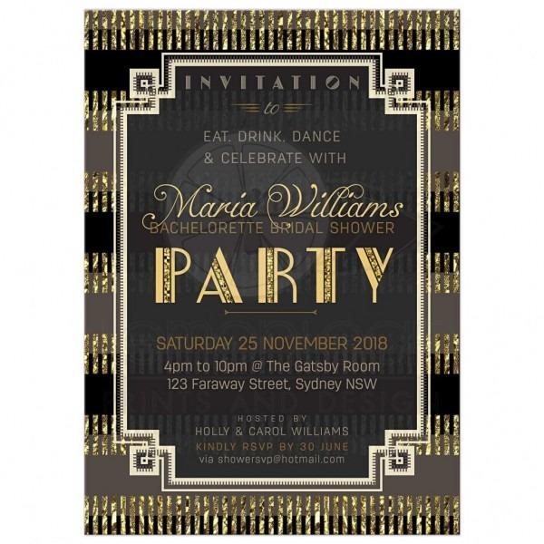 Perfect Great Gatsby Bridal Shower Invitations 74 In Invitations