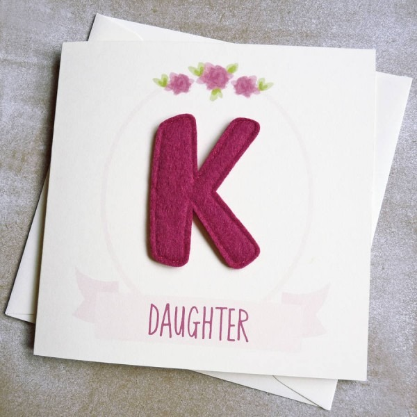 Personalised Felt Initial Floral Daughter Birthday Card Good
