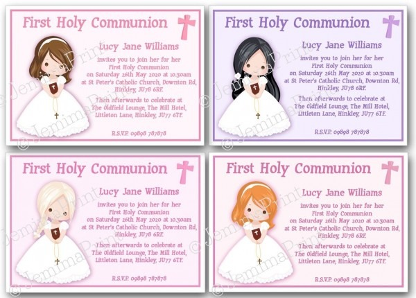 Personalised Girls 1st First Holy Communion Invitations X10 With