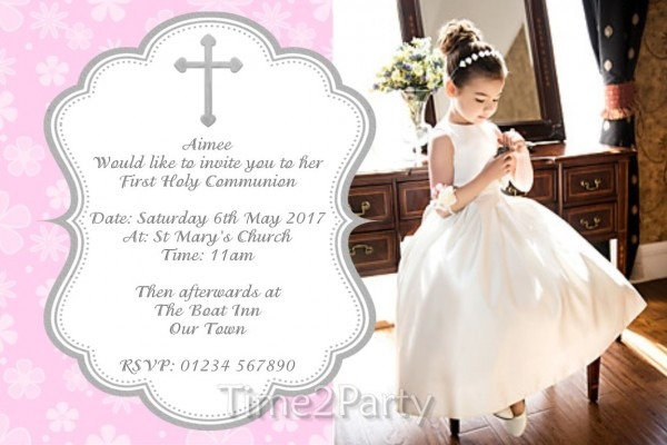 Personalised Girls First Holy Communion Invitations Photo Invites