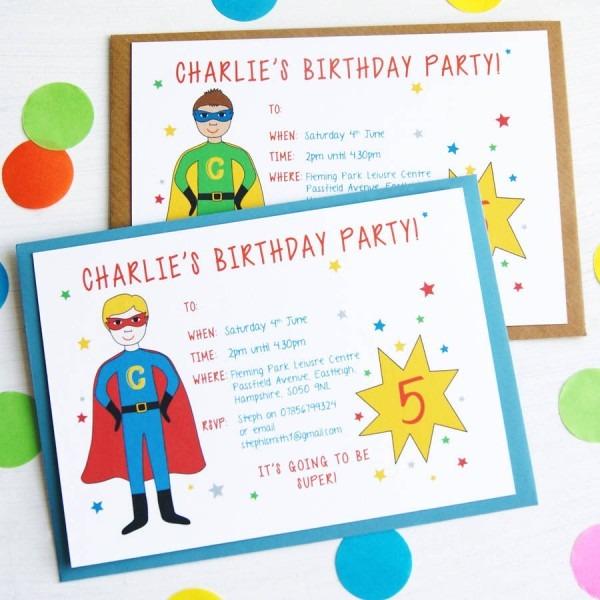 Personalised Superher Inspirational Kids Birthday Invites