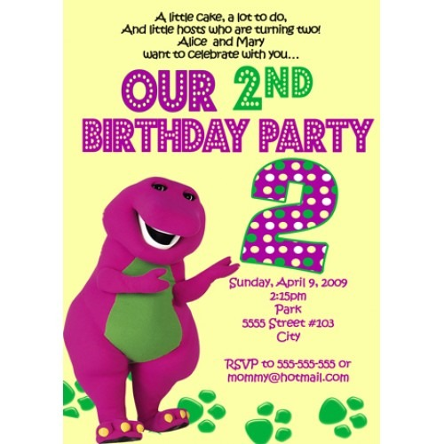 Ideal Free Personalized Barney Birthday Invitations