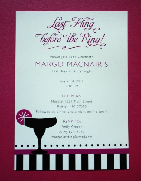 Pink And Black Margarita, Stripes And Dots Bachelorette Party