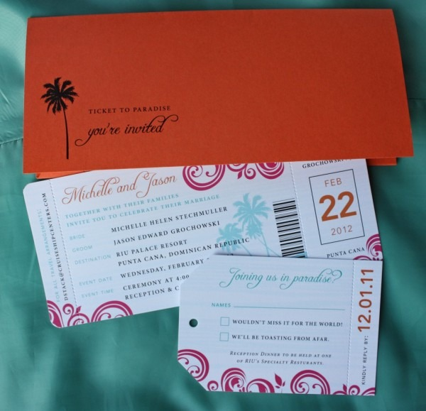 Orange, Pink & Turquoise Swirl & Palm Tree Airline Ticket Wedding