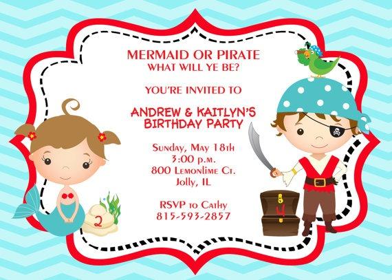 Pirate Mermaid Birthday Invitation Epic Pirate Mermaid Party