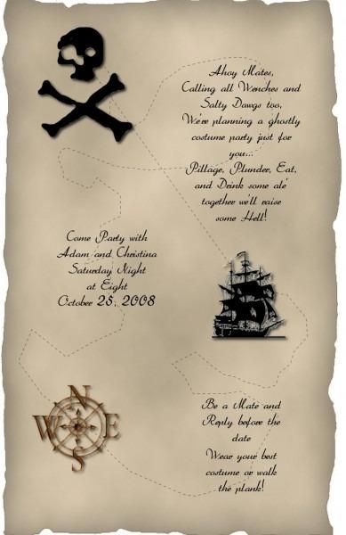 Pirate Halloween Party Invitation Wording