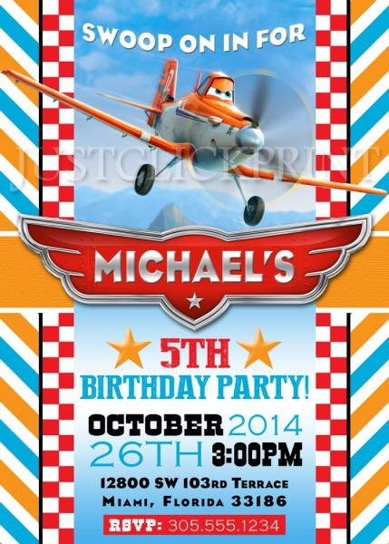 Planes Dusty Airplane Birthday Party Invitation Printable · Just
