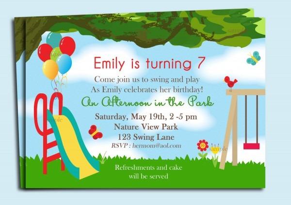 Playground Birthday Invitations Marvelous Amusement Park Birthday