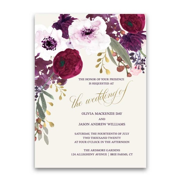 Floral Wedding Invitations Bohemian Purple Wine Flowers