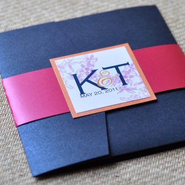 Pocket Fold Wedding Invitation Design Fee (navy, Tangerine And
