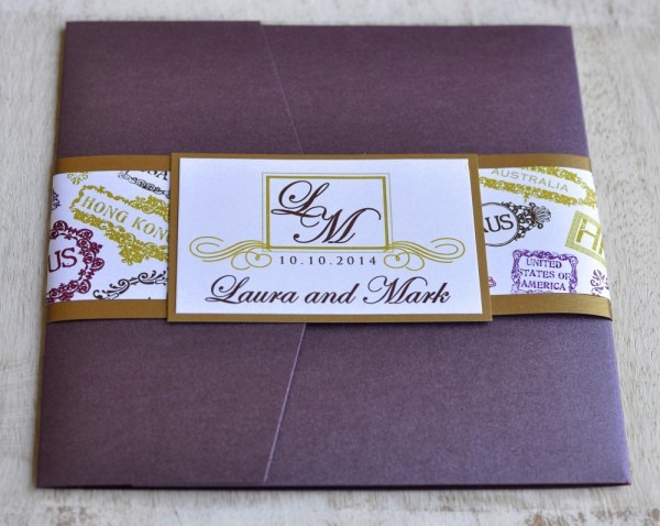 Pocket Fold Wedding Invitation Design Fee (monogram Passport