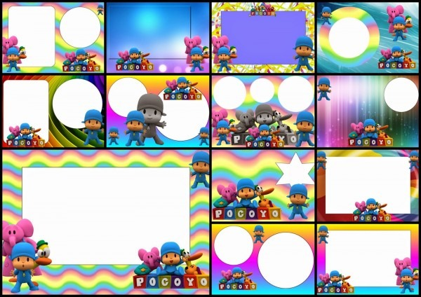 Pocoyo With Rainbow Background  Free Printable Invitations