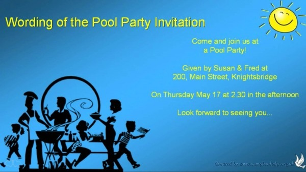 Pool Party Birthday Invitation Wording Cool With Pool Party