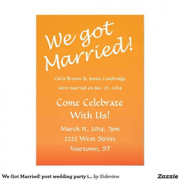 Post Wedding Party Invitations Post Wedding Party Invitations For