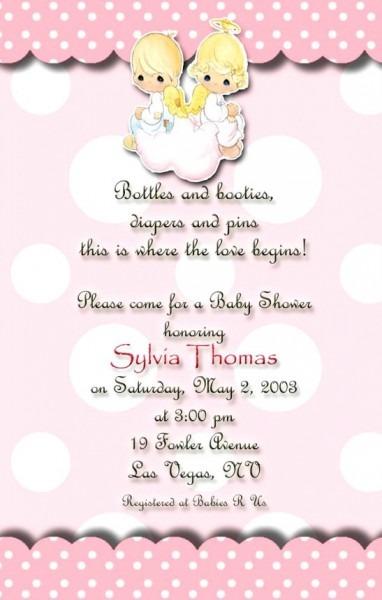 Precious Moments Invitation Angels Baby Shower Invitations Pink