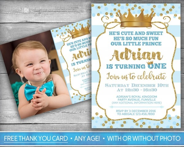 Prince Invitation Little First Birthday Boy Firs Card Blue Gold
