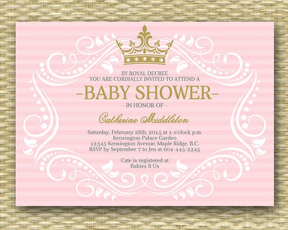 Stylish Princess Baby Shower Invitation For Excellent Free