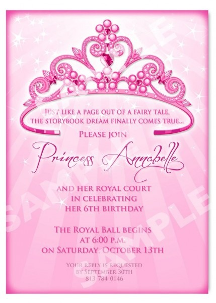 Princess Themed Birthday Invitations
