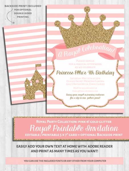 Pretty Tiara Princess Birthday Party Invitation Rdeedaaeefba Zkyi