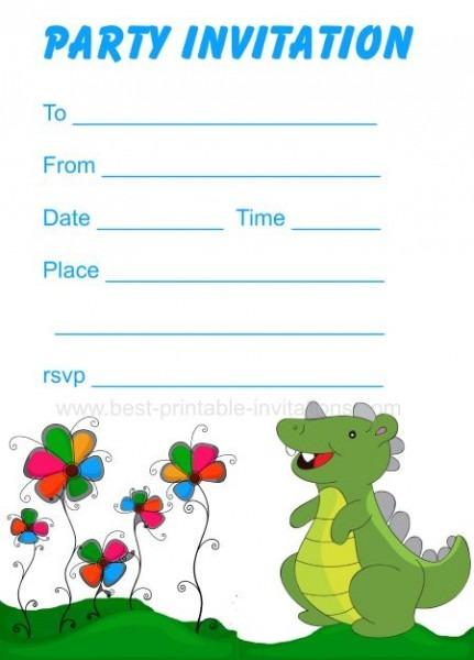 Fr Superb Dinosaurs Birthday Invitations Printable
