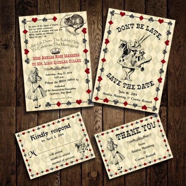 Printable Alice In Wonderland Wedding Invitation Set