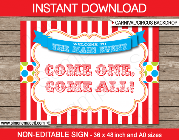 Printable Carnival Party Backdrop Sign
