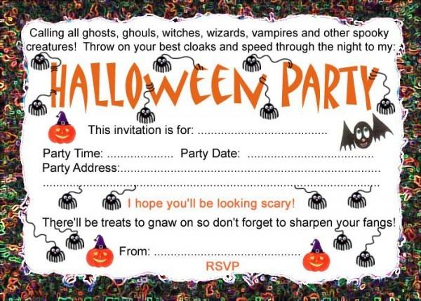 Printable Halloween Party Invitations For Kids Free Printable
