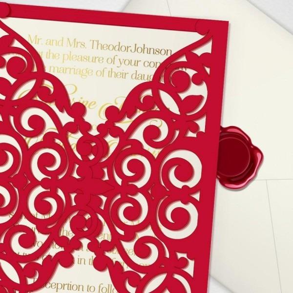 Printable Laser Cut Wedding Invitation Template, Vector Cutting