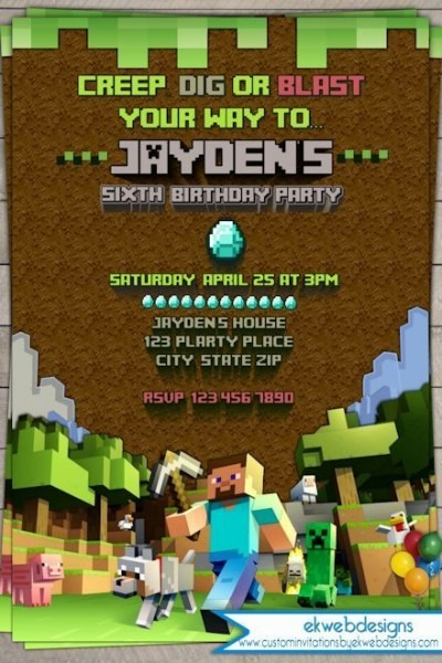 Printable Minecraft Birthday Invitations Great With Printable