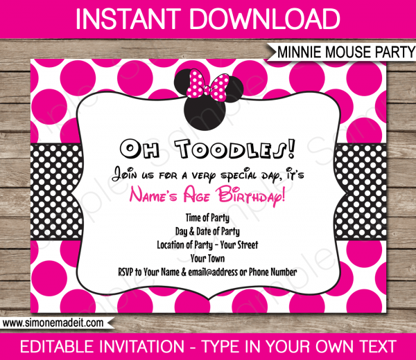 Printable Minnie Mouse Party Invitation Template Fancy Minnie