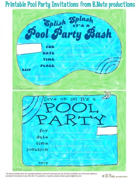 Printable Pool Party Invitations Printable Pool Party Invitations
