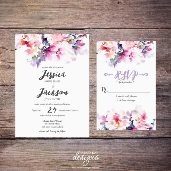 Printable Watercolor Floral Wedding Invitation Suite, Spring