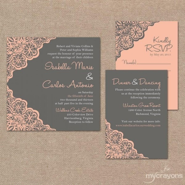Printable Wedding Invitation Set    Rustic Lace Wedding Invitation