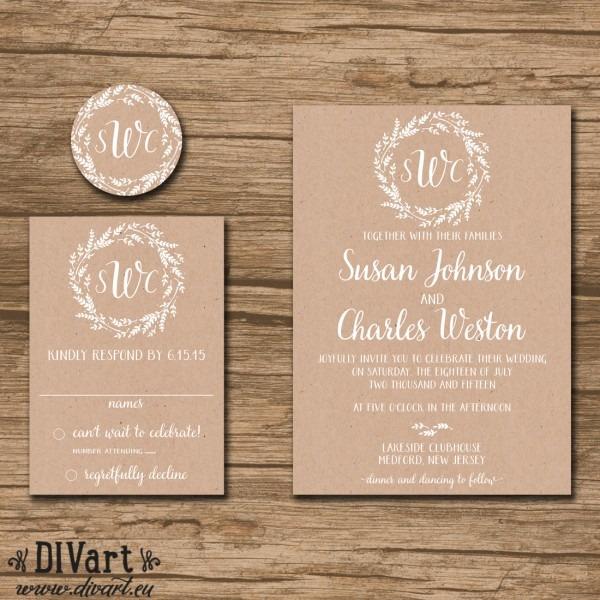 Rustic Wedding Invitation Suite, Response Card, Monogram