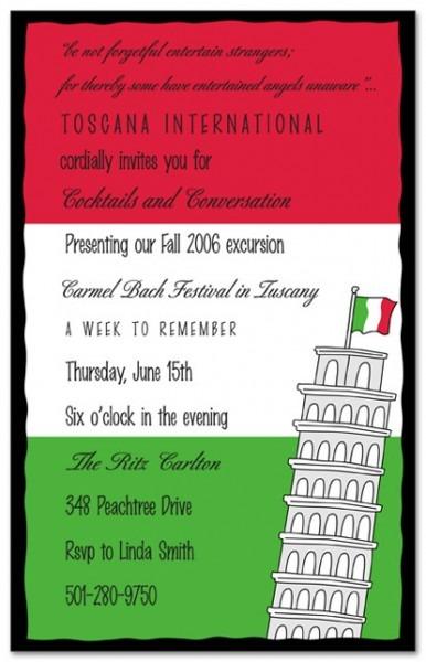 Simple Italian Themed Birthday Party Invitations