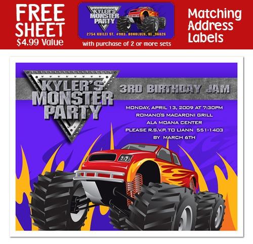 Monster Truck Personalized Invitat Unique Monster Jam Party