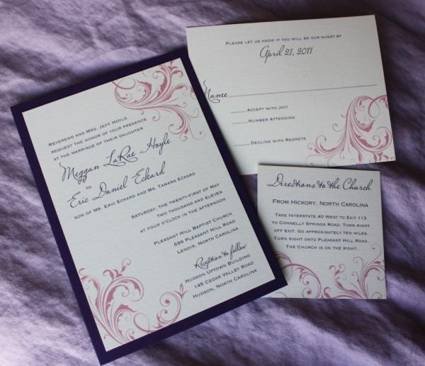 Purple And Pink Swirl Wedding Invitations