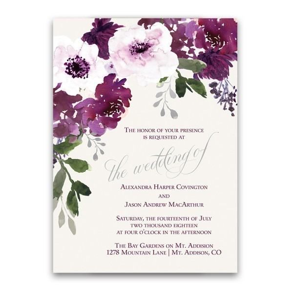 Plum Floral Wedding Invitations Watercolor Greenery With Purple