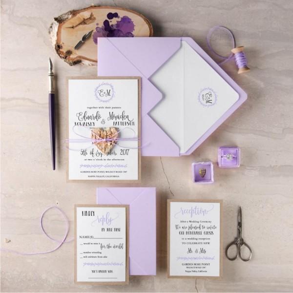 Purple Wedding Invitation Suite (20), Rustic Wedding Invitation