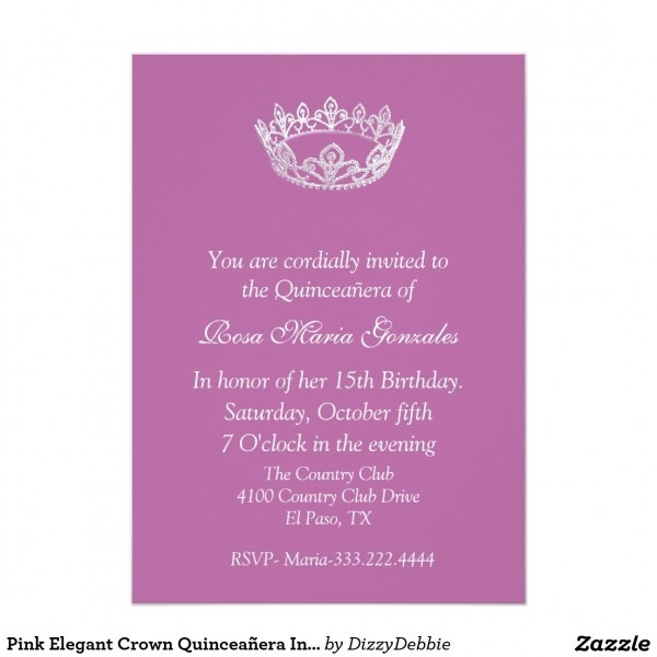 Quinceanera Invitations Wording Samples English Inside Elegant