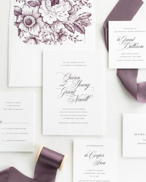 Romantic Wedding Invitations With Mulberry Silk Ribbon – Wedding