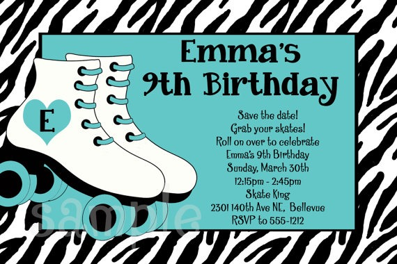 Cute Free Printable Roller Skating Birthday Party Invitations