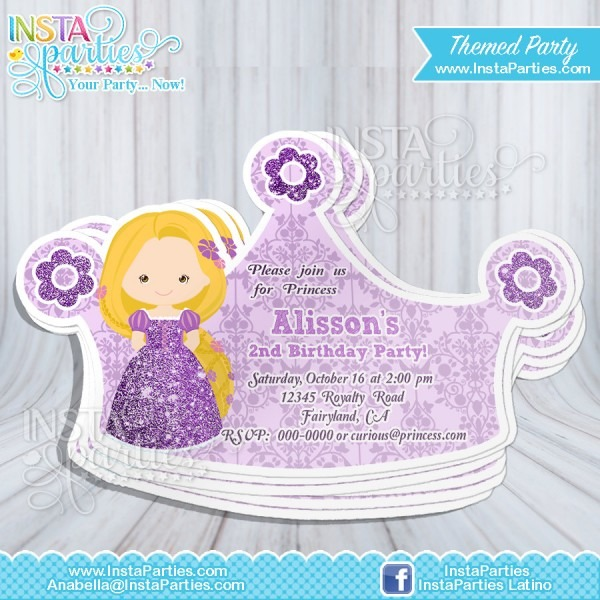 Rapunzel Princess Invitations Crown   Princess Cut Out Birthday