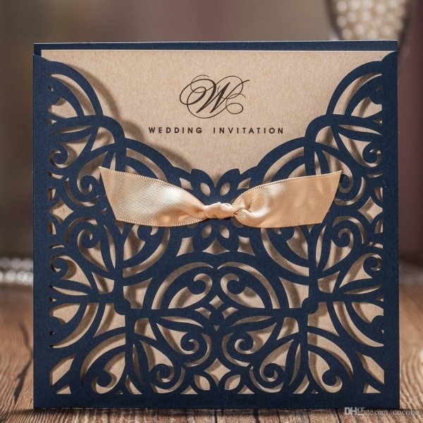 Wishmade Navy Blue Laser Cut Wedding Invitations Cards With