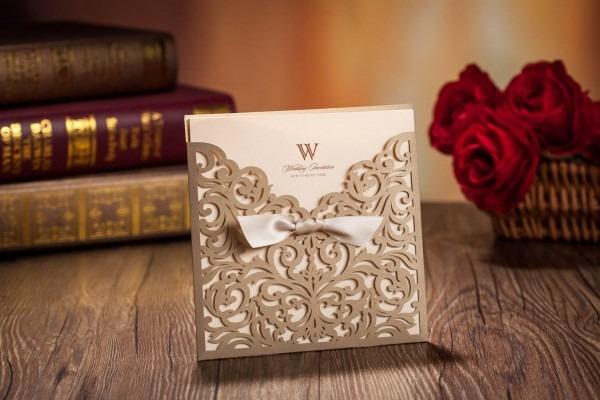Laser Cut Wedding Invitations Cards Gold Ribbon Hollow Wedding