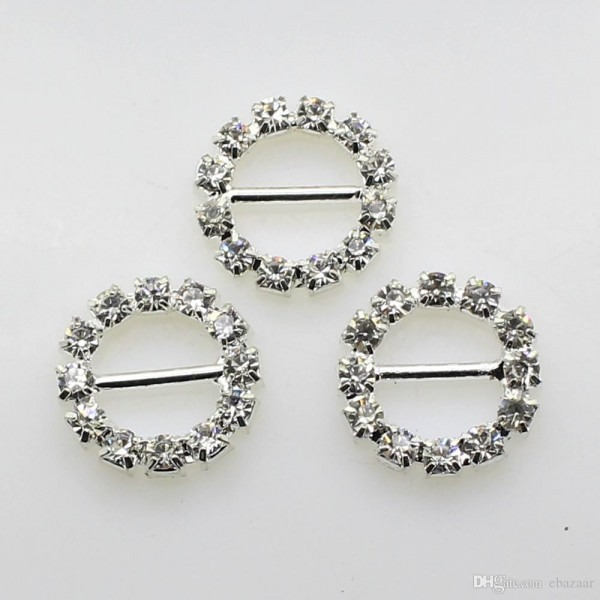 2018 Factory Price 10mm Bar Clear Round Rhinestone Buckles For