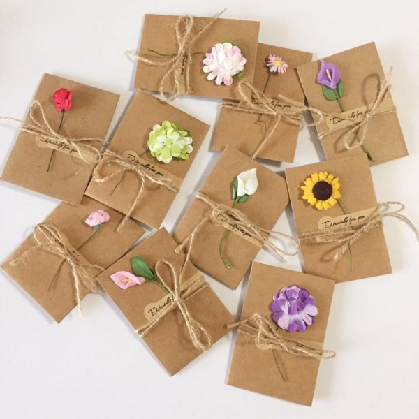 Diy Kraft Paper Handmade Dry Flower Invitation Greeting Card With