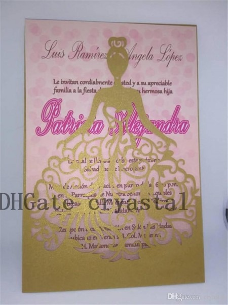 Shimmer Laser Cut Quinceanera Invitations  Gold Laser Cut Dress